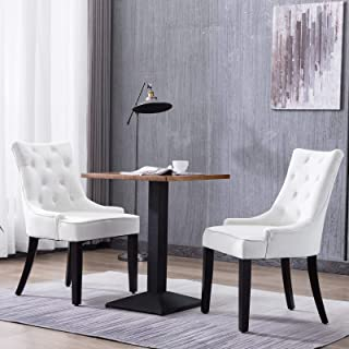 Mecor Tufted Fabric Dining Chairs Set of 2,Leisure Velvet...