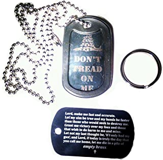 Engraved Military Dog Tags - Bundle of Two - Molon Labe, Don't Tread on Me, Prayer