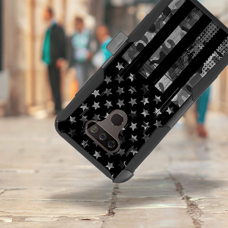 DALUX Hybrid Kickstand Holster Phone Case Compatible with LG Harmony 4 / Premier Pro Plus/Xpression Plus 3 - Gray Camo Half US Flag