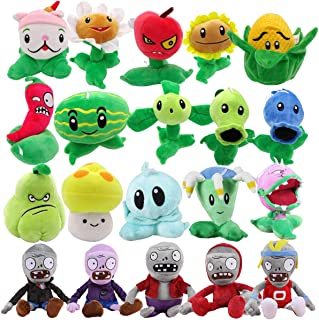 TavasHome Plants vs Zombies Stuffed Plush Toys (Set of 20),Games PVZ Soft Toys Doll for Kids Gifts Party Toy Baby Plush Doll with 2 Bonus Mini Peashooters