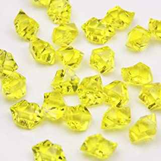 Yellow Acrylic Ice Rock Crystals Treasure Gems for Table Scatters, Vase Fillers, Wedding, Banquet, Party, Event, Birthday Decoration (Yellow, 150)