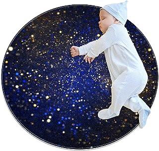 Svart blå stjärnhimmel, barn rund matta polyester överkast matta mjuk pedagogisk tvättbar matta barnkammare tipi tält lekm...