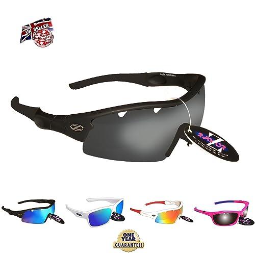 8c5fc6fa5cee Professional Cycling Sunglasses for Men and Women by RayZor. Lightweight  Biking Sports Wrap Eyewear.