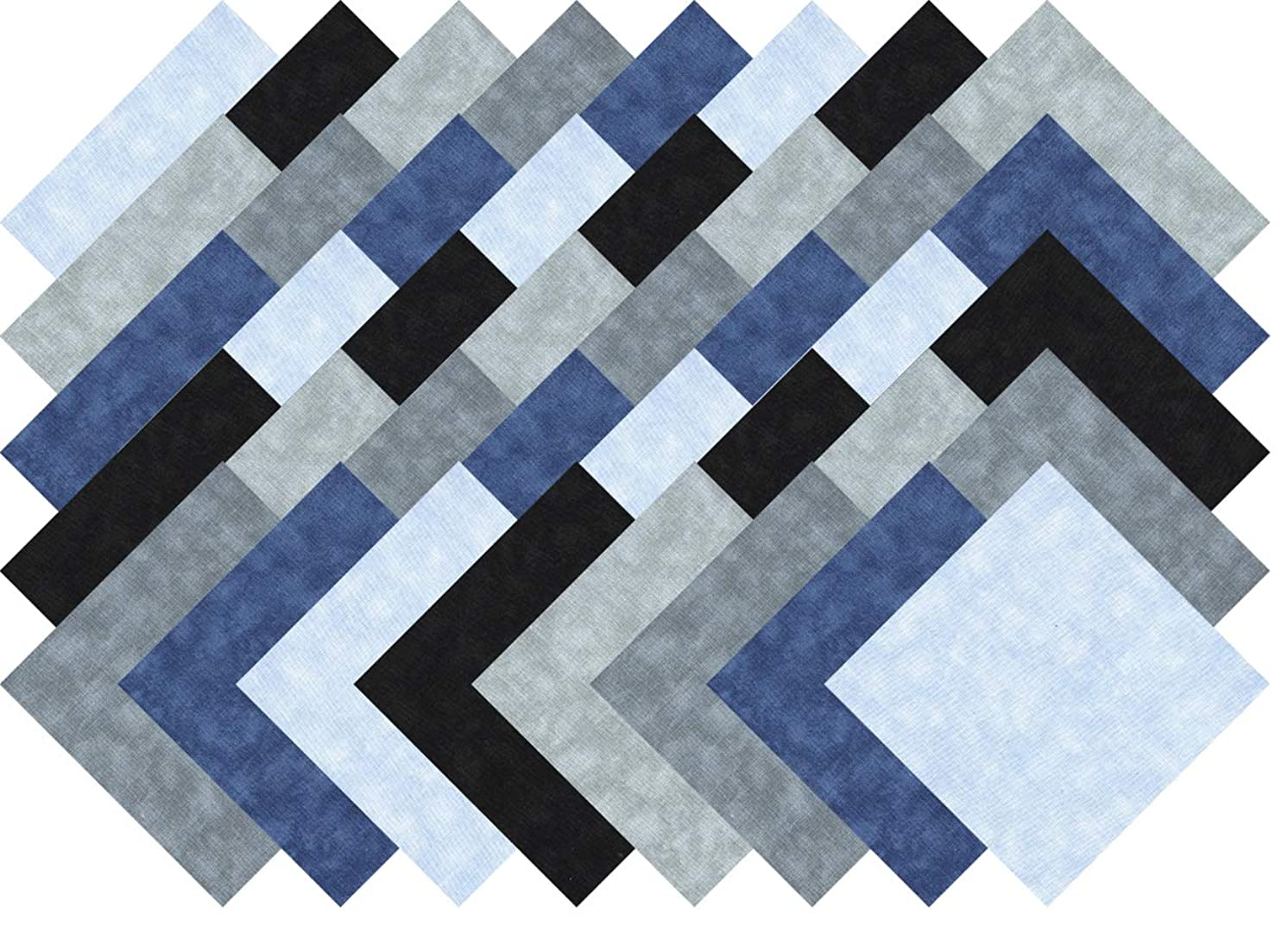 Gray Blue Black Collection 40 Precut 5-inch Quilting Fabric Charm Squares