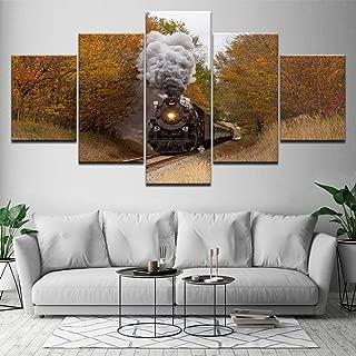 MMLZLZ 5 Canvas Paintings Trains Smoke 5 Piece HD Wallpapers Art Canvas Print Modern Poster Modular Art Painting for Living Room Home Decor