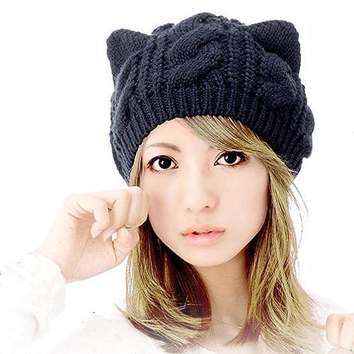804e66172be Zerowin Cute Woollike Knitted CAT Kitty Ears Women Lady Girl Headgear Crochet  Hats