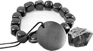 Karelian Heritage Genuine Regular Shungite Tumbled Bracelet, Round Pendant, and Elite Stone Set S012
