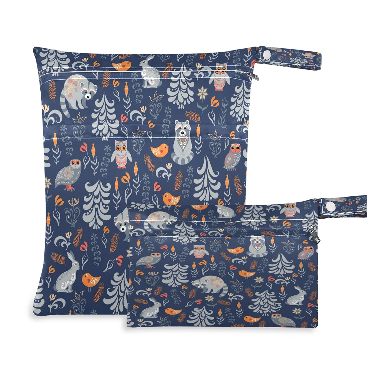 COZYHM Wet Dry Max 72% OFF Bags for Diaper Ow Animal Raccoon Forest Bird Bag Popularity