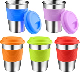 Kids Stainless Steel Cups With Silicone Lids & Sleeves, Kereda 5 Pack 11 3/4 oz. Drinking Tumblers Eco-Friendly BPA-Free for Adults, Children and Toddlers