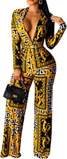 Women's Jumpsuits Sexy Floral Print Turn Down Collar Long Sleeve Beam Foot Romper
