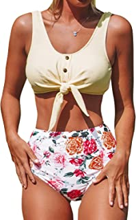 CUPSHE Women's Solid Tie Front Tank and Floral High Waisted Bikini