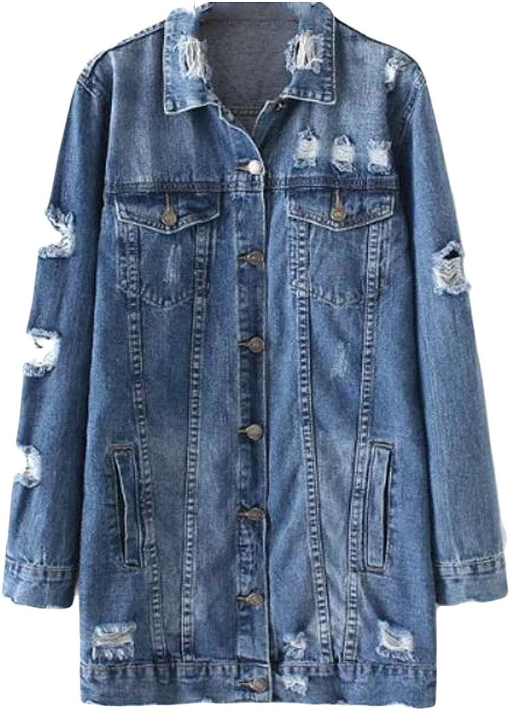 Hajotrawa Women Long Sleeve Distressed Ripped Lapel Neck Button Autumn Denim Jackets Coat