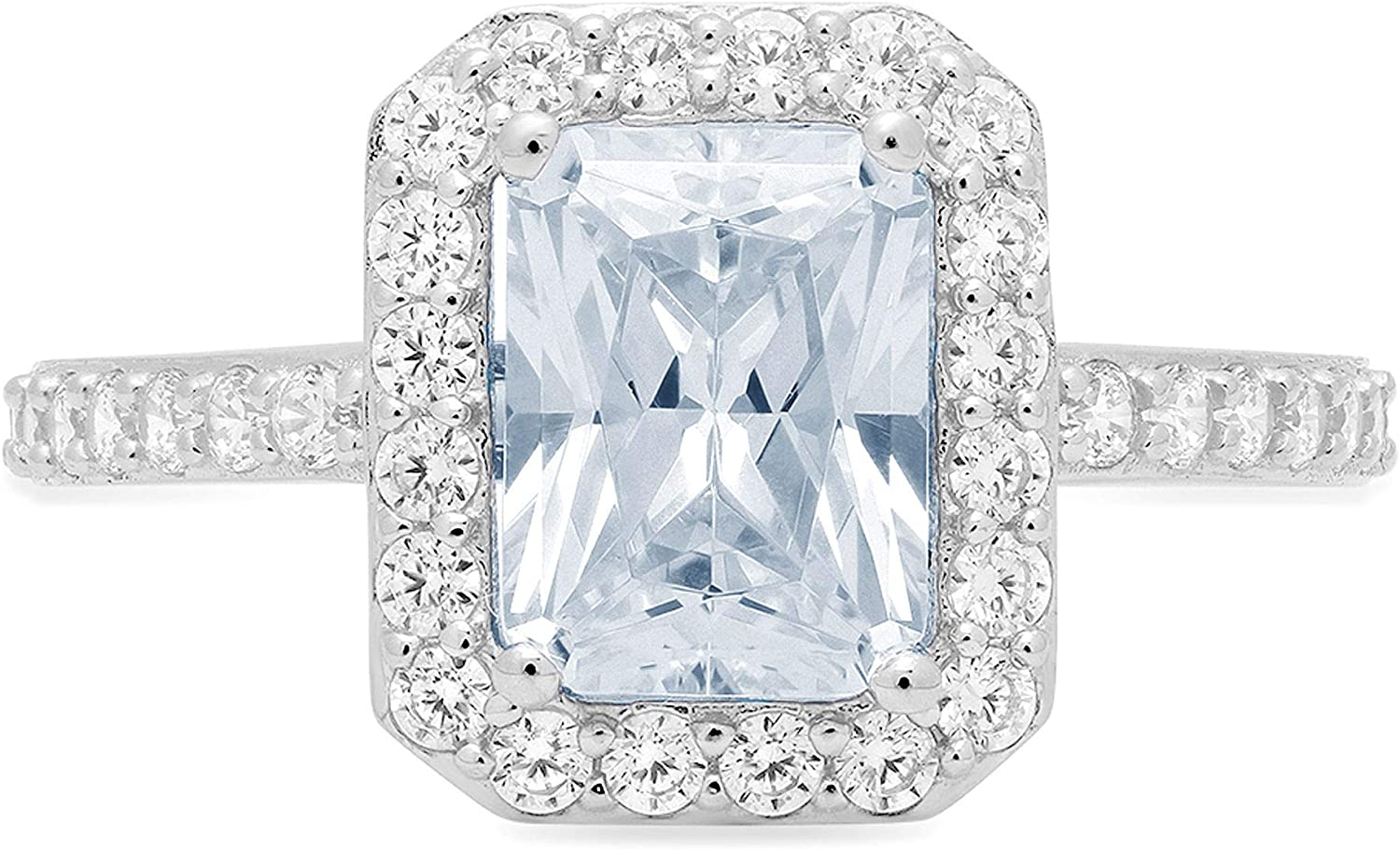 2.07ct Brilliant Emerald Cut Solitaire with Accent Halo Flawless Designer Genuine Natural Light Blue Aquamarine Gemstone Ideal VVS1 Engagement Promise Anniversary Bridal Wedding Ring 14k White Gold