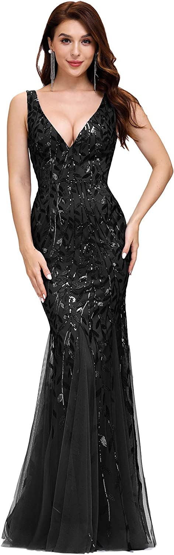 Ever-Pretty Women's Double V-Neck Sleeveless Mermaid Dress Evening Maxi Dress 7886