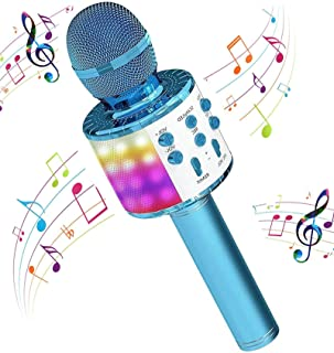 H HOME-MART Wireless 4 in 1 Bluetooth Karaoke Microphone with LED Lights, Portable Microphone for Kids, Best Gifts Toys fo...