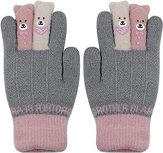 Kids Gloves Mittens Cute Cartoon Bear Warm Thick Gloves Soft Faux Fur Fleece Inner for Girls Boys