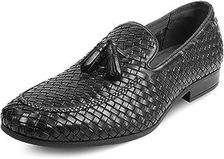 tresmode Braided Black Leather Formal Tassel  Footwear for Men
