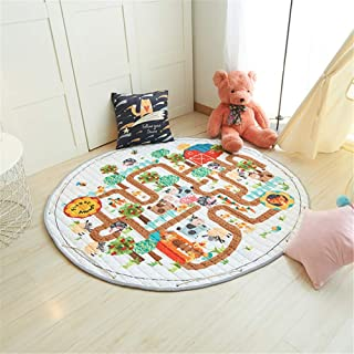 YRUGS Baby Kids Play Area Rugs, Toys Storage Organizer Cotton Soft Large Floor Mat, for Girl Boy Toddlers Bedroom Living Room Nursery Children Crawling Blanket, 5 Feet Round Carpet (Animal Maze)