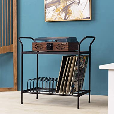 MyGift 2-Tier Rustic Brown Wood & Black Metal Turntable Stand with 14 Slot Vinyl Record Media Storage Holder