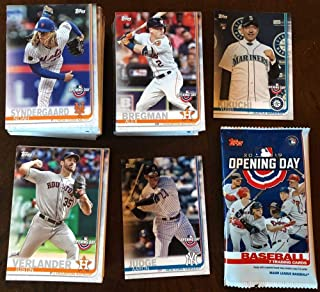 2019 Topps Opening Day Complete Hand Collated Baseball Set of 200 Cards with a FREE HOBBY WRAPPER. PURCHASE THIS SET AND RECEIVE FREE STANDARD SHIPPING WITHIN THE UNITED STATES ON YOUR ENTIRE PURCHASE FROM THIS AMAZON STORE. This amazing set has all the top stars of baseball including Mike Trout Aaron Judge Shohei Ohtani Ronald Acuna Bryce Harper Jose Altuve as well as Rookie Card of Japanese superstar Yusei Kikuchi (his first regular released MLB card) and Kyle Tucker RC and many more