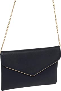 Colette Hayman Women's PU Wedding Evening Large Envelope Clutch Bag with Chain for Ladies Strap for Ladies for Prom (Navy)