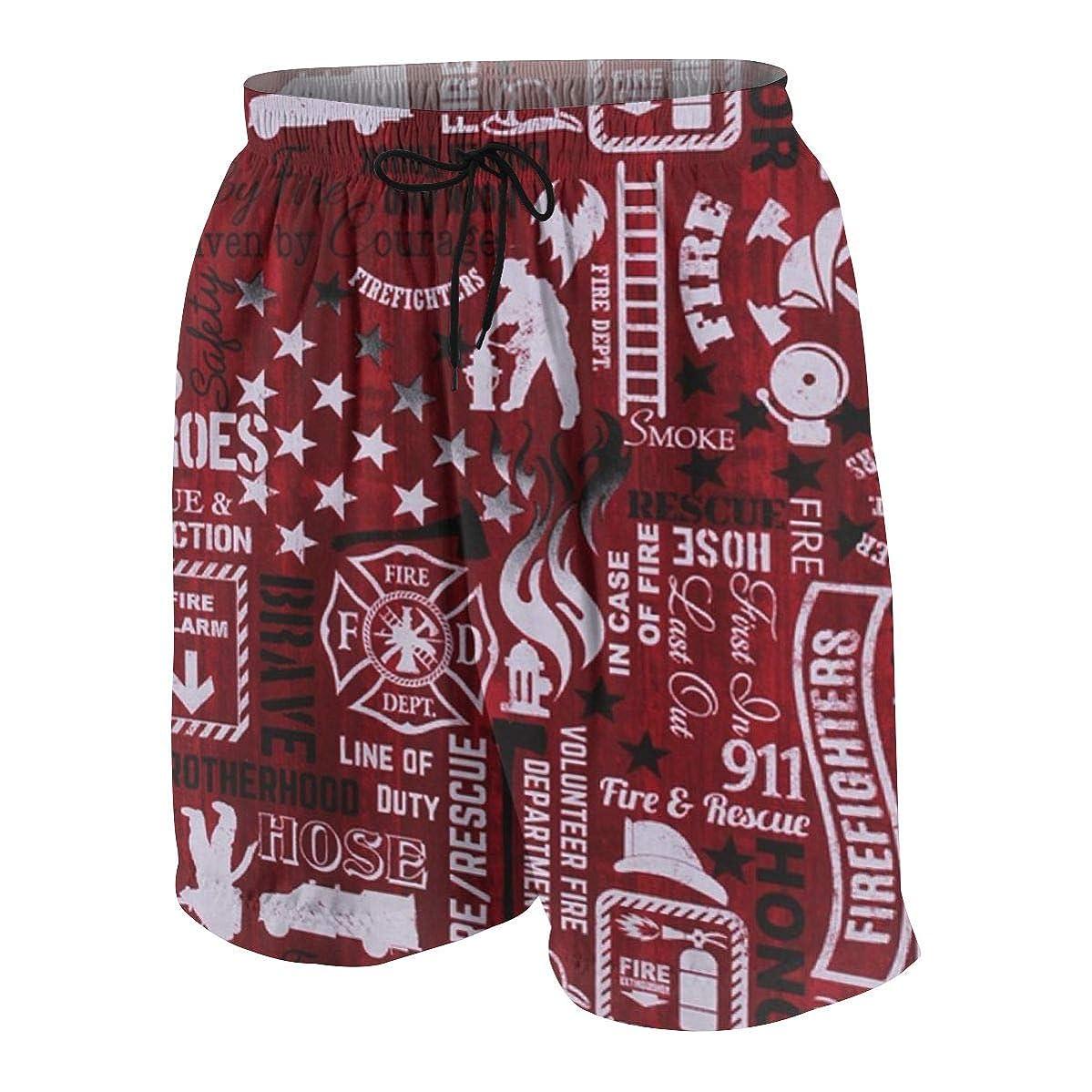 Red Firefighter Pattern Teenager Boys Funny Swim Trunks Quick Dry Beachwear Shorts Waterproof Mesh Swimwear Bathing Suits
