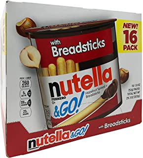 Nutella & Go Hazelnut Spread with Breadsticks 28.80 oz --16 Pack - 1.8 oz Each