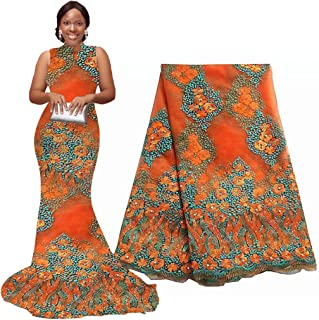 5 Yards African Lace Fabrics Nigerian French Beaded Tulle Fabric (orange)