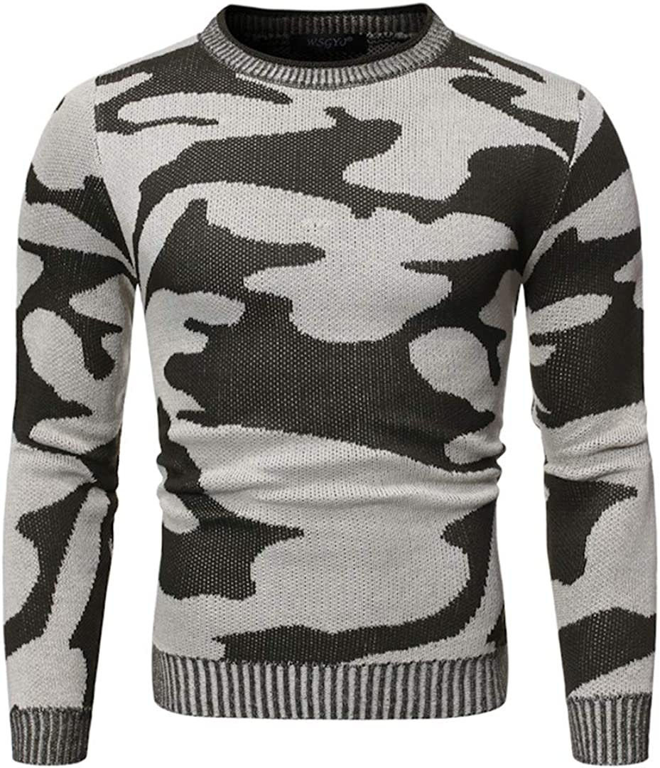 GHURFNP Sweater Men Autumn and Winter Camouflage Round Neck Pullovers Contrast Loose Sweaters