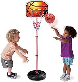 Liberty Imports Kids Portable Mini Basketball Hoop and Stand - Height Adjustable Toy Set with Metal Rim, Ball and Net - In...