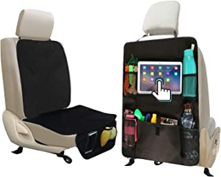 ALTITACO Car Seat Protector + X-Large Rear Back Seat Organizer with iPad and Tablet Holder, Universal Car Seat Saver Cover Pad & Backseat Waterproof Kick Mat Protectors, Travel Accessories Organizer