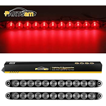 United Pacific 37092 23 SMD LED 17-1//4 Inch Stop Turn Tail Light Bar with Reflector Red LED//Clear Lens