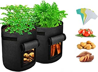2-Pack 10 Gallon Grow Bags, Breathable Nonwoven Fabric Pots with Handles Window Garden Planting Bags for Potato Tomato Car...