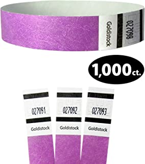 "Tyvek Wristbands - Goldistock Original Series Neon Purple 1,000 Count - ¾"" Arm Bands - Paper-Like Party Armbands - Heavier Tyvek Wrist Bands = Upgrading Your Event"