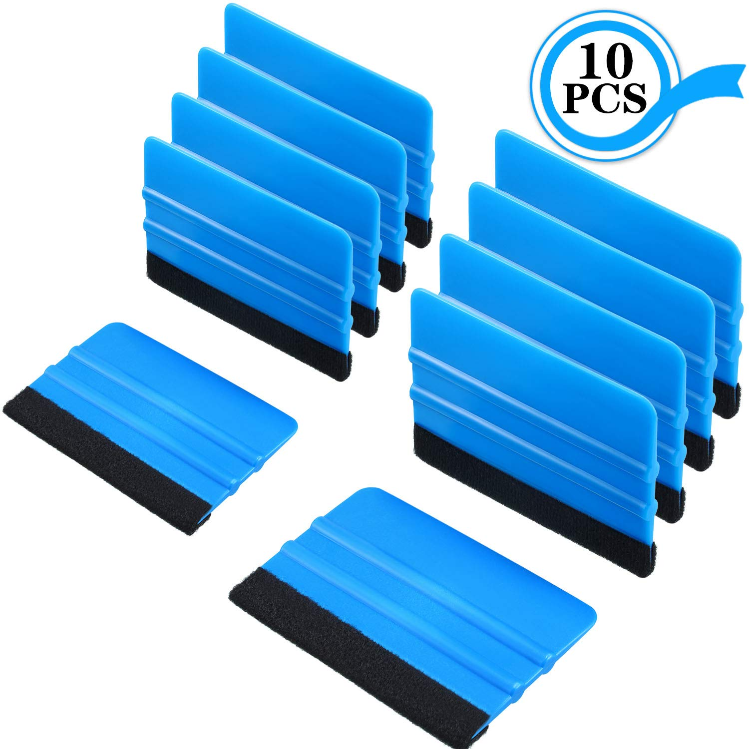 Blulu 10 Pieces Felt Edge Squeegee Car Wrapping Tools 4 Inch and 5 Inch Vinyl Scraper Decal Applicator Tool for Car Vinyl Wrap Window Tint Wallpaper Installation