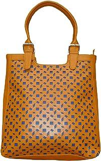 Spice Art Damen Lasergravierte Designer Senf Lederhandtasche