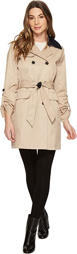 DB Belted Trench with Contrast Color and Roll Up Sleeves