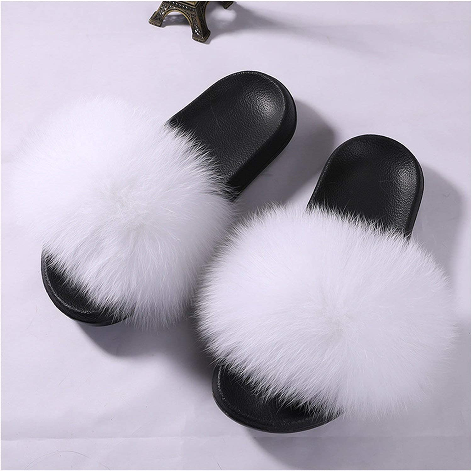 END GAME Women Fur Home Fluffy Sliders Plush Furry Summer Flats Sweet shoes Cute Pantufas