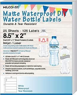 Milcoast Matte Waterproof Tear Resistant DIY Water Bottle Labels 8.5
