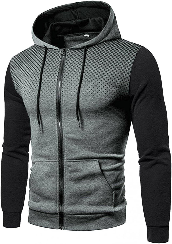 Aayomet Men's Hoodies Sweatshirts Zip Patchwork Tops Casual Long Sleeve Workout Hooded Pullover Blouses Coat for Men
