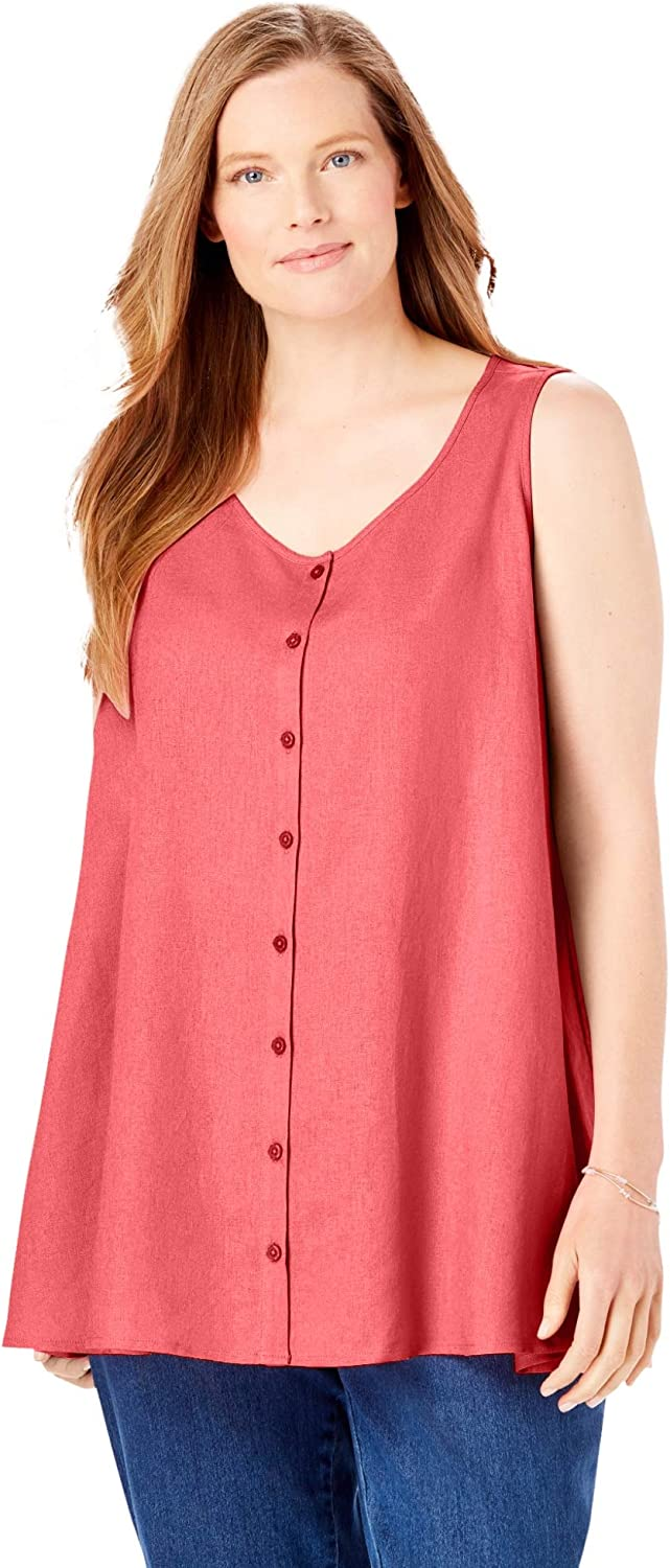 Woman Within Women's Plus Size Button-Front Linen Tank Top