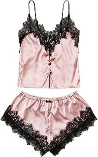 Women's Lace Trim Satin Sleepwear V Neck Cami Top and Shorts Pajama Set