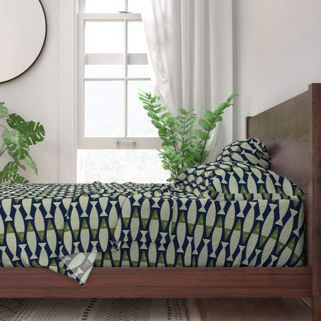 Fish Sea Fishing Modern Bass Boy Navy Outdoors Woodland Print 100/% Cotton Sateen Duvet Cover Twin Roostery Duvet Cover