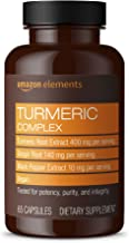 Amazon Elements Turmeric Complex, 400mg Curcumin, 140mg Ginger, 10mg Black Pepper - Joint & Immune System, Healthy Inflammation Response - 65 Capsules (2 month supply) (Packaging may vary)