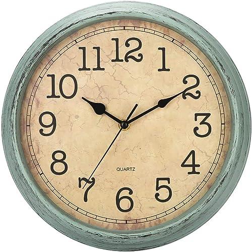 HYLANDA - Reloj de Pared de 12 Pulgadas, Vintage/Retro, silencioso, de Cuarzo, Decorativo, Funciona con Pilas con núm...