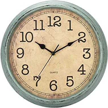 HYLANDA 12 Inch Vintage/Retro Wall Clock, Silent Non-Ticking Decorative Wall Clocks Battery Operated with Large Numbers&H