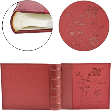 """Golden State Art Photo Album, Holds 200 4""""x6"""" Pictures, 2 Per Page, Faux Leather Vintage Inspired Cover, P52028-7 Mar"""