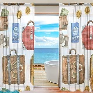 Rideau de fenêtre Voile Tulle, 2 Panneaux pour la Salle de séjour, Cuisine, équipement de Voyage, Valise, 55 W X 84 L, Pouces