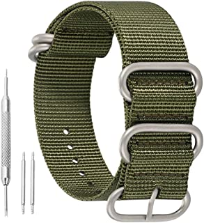 High-end Superior NATO Style Ballistic Nylon Watch Band Strap Replacement for Men Braided in Black/Army Green