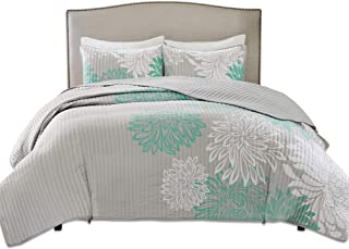 Comfort Spaces Enya 3 Piece Quilt Coverlet Bedspread Ultra Soft Floral Printed Pattern Bedding Set, Full/Queen, Aqua-Grey